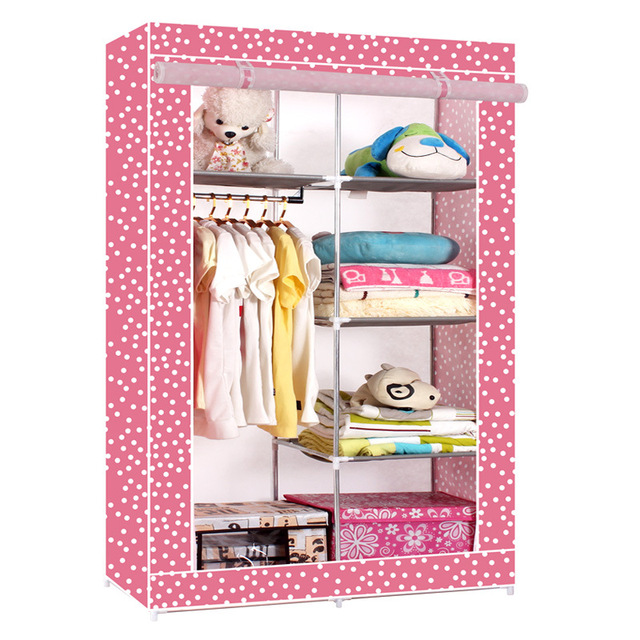Folding Portable Wardrobe Cabinet Thicken Steel Frame Assembly Fabric  Wardrobe Closet Big Capacity Clothes Storage Locker