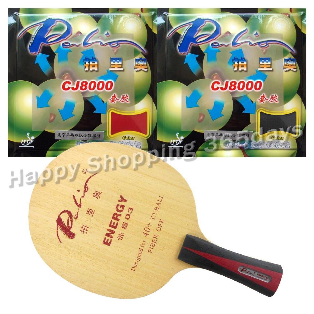Pro Table Tennis PingPong Combo Racket Palio ENERGY 03 Blade With 2x CJ8000 H40-42 Rubbers Long Shakehand FL