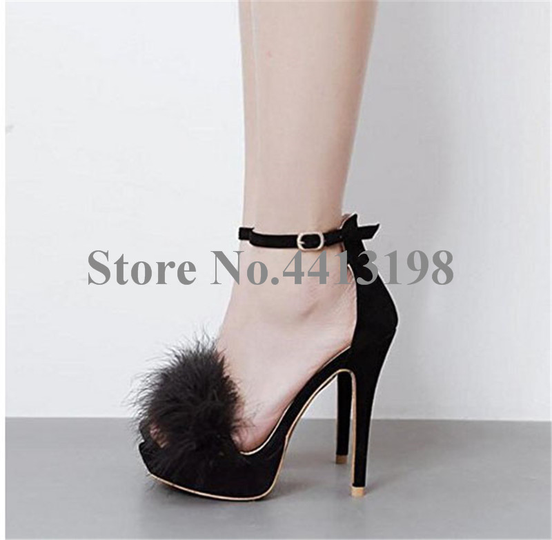 Hebilla Picture Verano Alto Mujer Correa Básicas Zapatos Sólida As Cubierta Flock Super Plumas Talón Peep Señoras Finos Partido Toe Talones Sandalias Moda Og18w