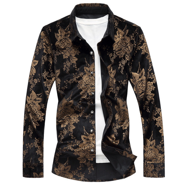 ee72bfc34b408 Loldeal 2018 Luxury Mens Silk Shirts Velvet Men Gold and Black Shirts Mens  Royal Flowers Print Shirts Camisa Social Slim-in Casual Shirts from Men s  ...