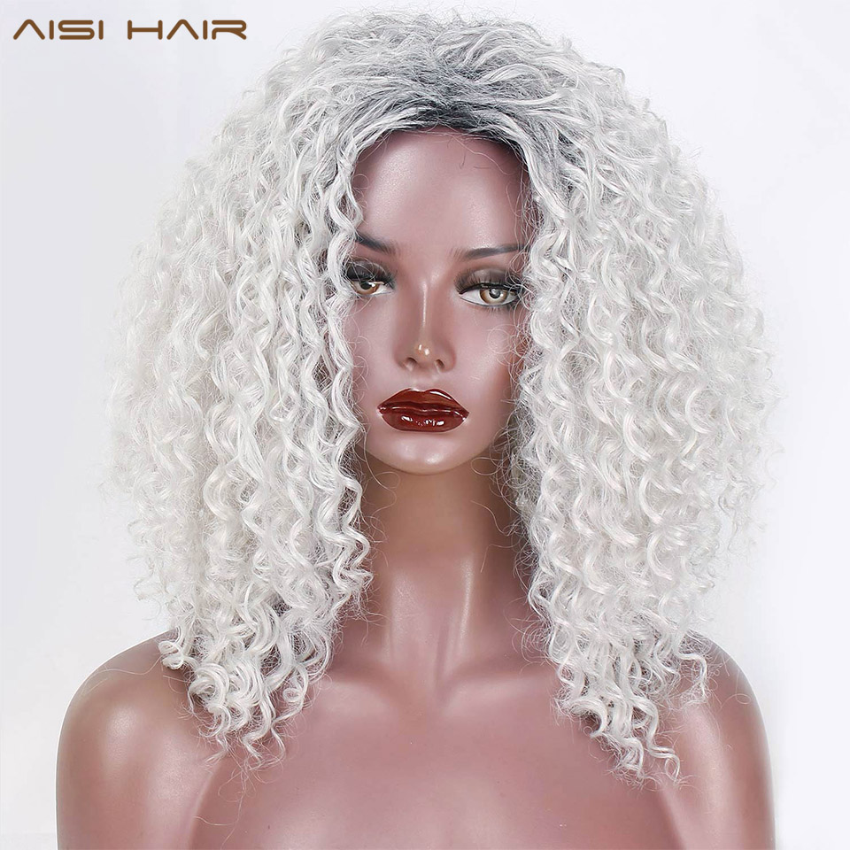 AISI HAIR 16 Inch Ombre Grey White Afro Kinky Curly Women Wigs Fluffy African American Synthetic Wigs For Women