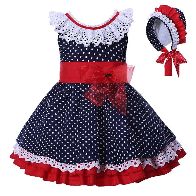 ba148ffcc Pettigirl Navy Blue Dots Girls Dresses Kids Baby Girl Sleeveless ...