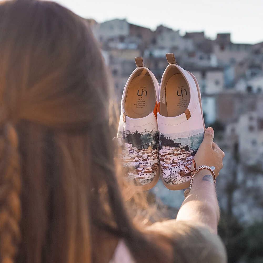 UIN A rouge Vival ville Art peint toile chaussures pour femme confort sans lacet mocassins baskets décontractées plat dames mode chaussures de marche