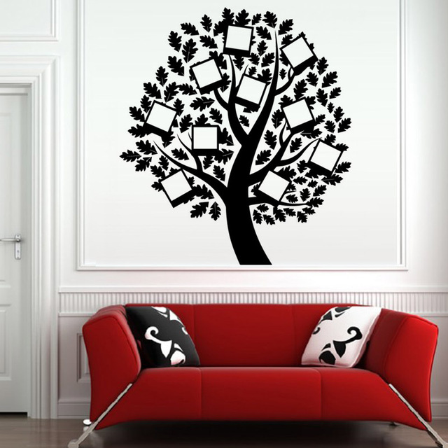 Photo frame family tree wall decal vinyl removable art wall stickers self adhesive diy wallpaper creative