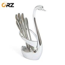 ORZ 7PCS Swan Dinnerware Set Kitchen Stainless Steel Fork Holder Salad Fruit Cake Forks Tableware Wedding Party Decorate Gift