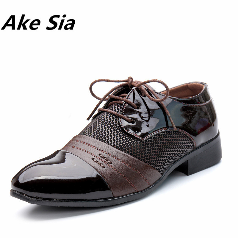 Ake Sia 2018 Men Dress Shoes Plus Size 38-48 Men Business Flat Shoes Black Brown Breathable Low Top Men Formal Office Shoes