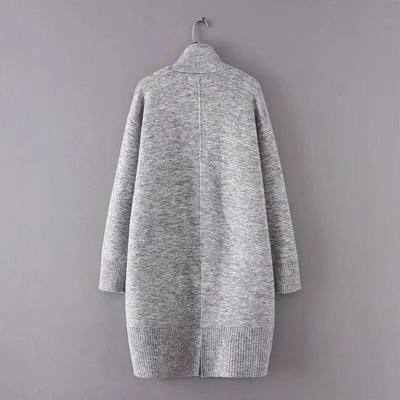 Mode Femelle Nouveau Cardigans Pictuer Longue Femmes Poches Tricoté Lâche Ltd119244 Robes Point Épaisse Spliced Chandail Ouvert Gray Patchwork vvw0q1r