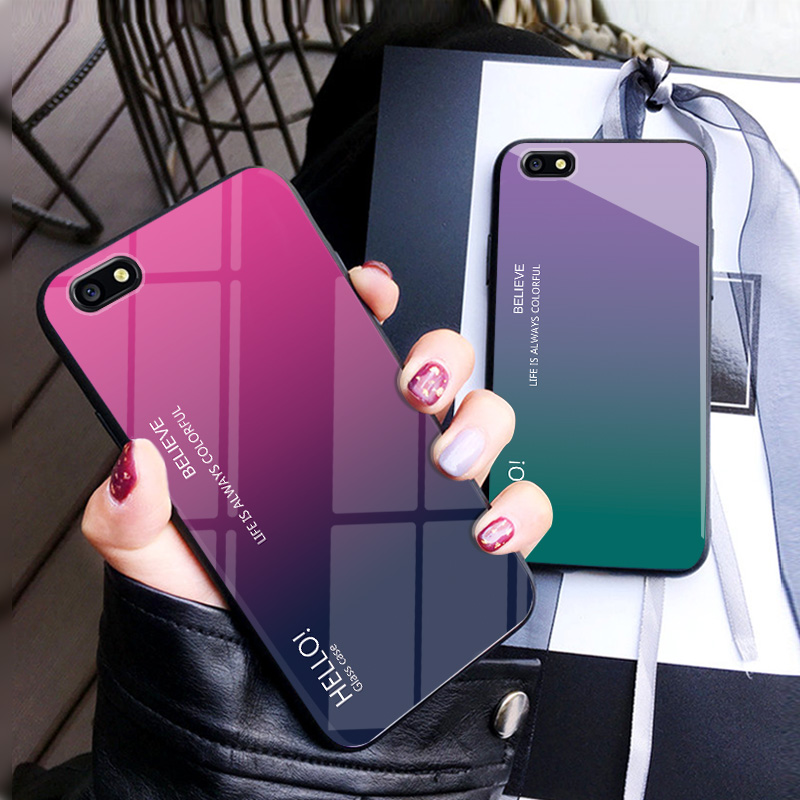 For OPPO F3 Case Luxury Hard Tempered Glass Fashion Gradient Protective Back Cover case For oppo f3 A77 full cover phone shell