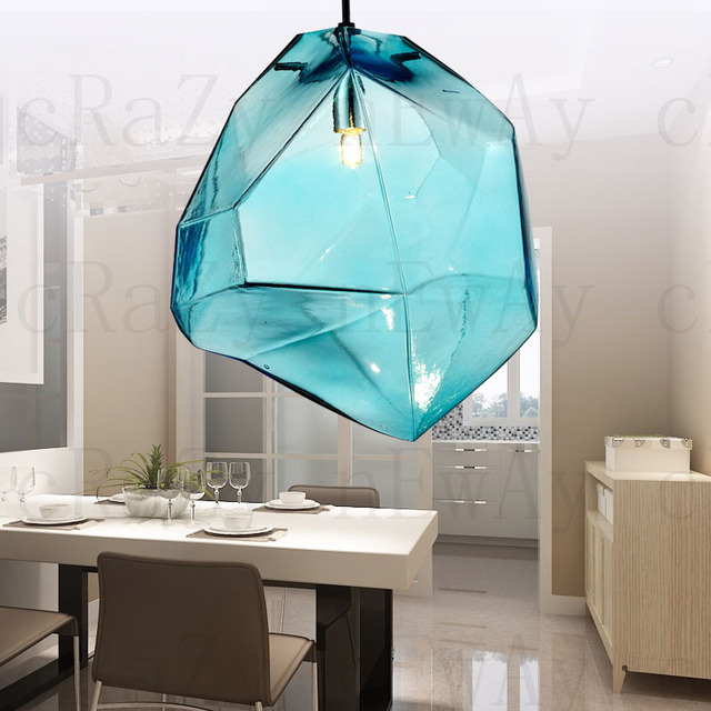 American vintage glass pendant lights with blue glass lampshade ikea indoor decoration light fixture