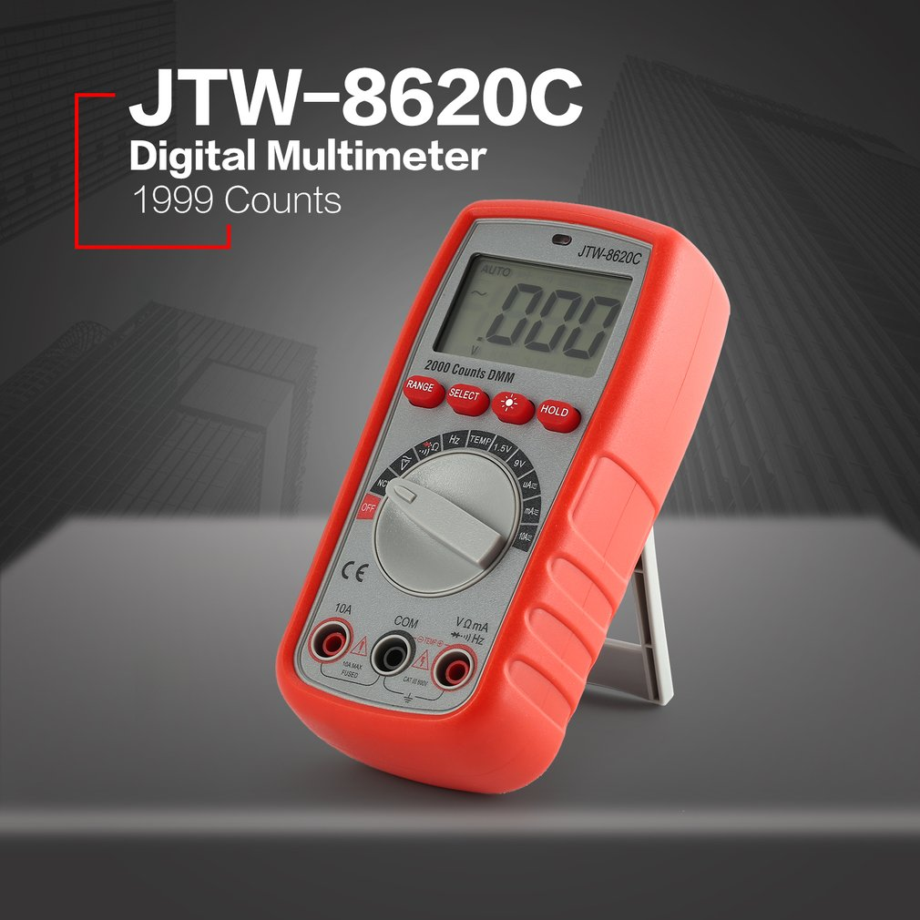 Jtw 8620c Digital Multimeter Ac Dc 1999 Counts Volt Amp Ohm Diode Measurements Electronic Temperature Meter Frequency Continuity Ncv Battery Tester In Multimeters From Tools On