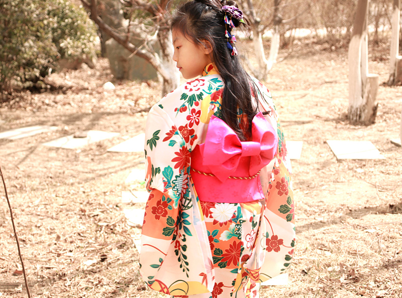 2018 winter novelty blue floral child party dress japanese baby girl kimono children vintage yukata kid girl cospaly costume floral embroidered tie sheer kimono