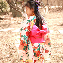 2019 new novelty blue floral child party dress japanese baby girl kimono children vintage yukata kid girl cospaly costume