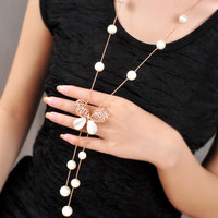 Cute Insect Opal Butterfly Pendant Simulated Pearl Necklace Korean Fashion Jewelry Gold Bead Chain Sweater Long