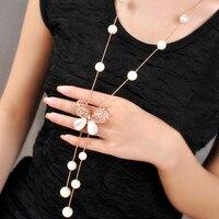 Simüle Inci Kolye Kelebek Kolye Kore Moda Takı Ile Altın Boncuk Zincir Uzun Kolye Kadın Bijoux Collier Perle