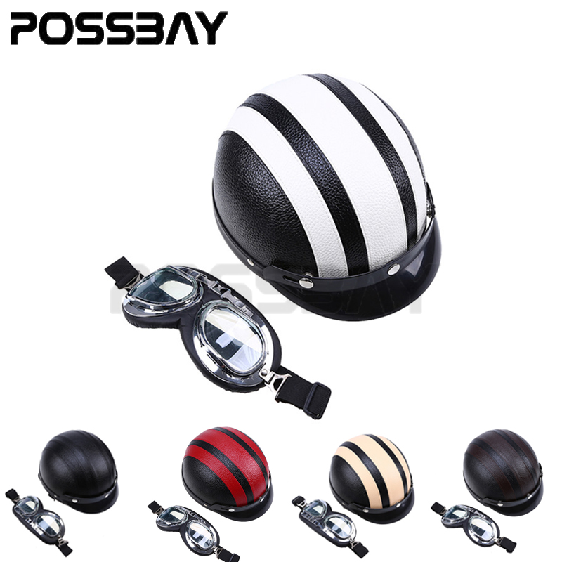 Leather Motorcycle Helmet Visor Goggles Motocross Chopper Helmets Scooter Open Face Half Helmet with Visor UV Goggles capacete