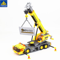KAZI 380pcs City Crane Series Building Blocks DIY Model Block Educational Toys Learning Education Bricks Child