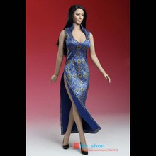 "Sexy 1/6 Phicen Doll Clothes Stainless Steel Female  Blue/Red Chinese Dress Gown With High Slits Fit 12"" Action Figure Toys"