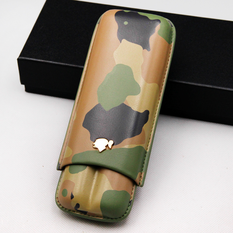 High end Excellent Camouflage Color Leather Portable Cigar Case Holder Travel 2 Tube W Gift Box