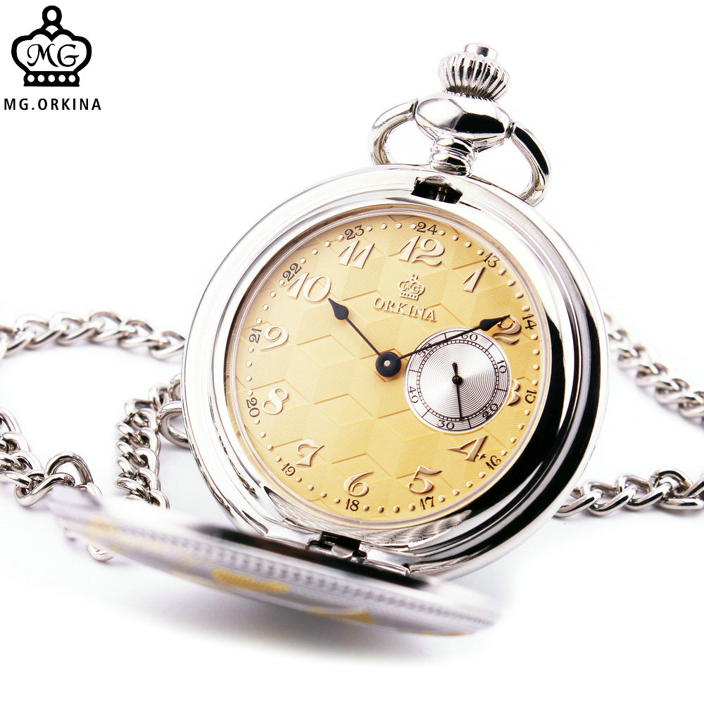 ORKINA Brand Fashion Stylish Posh Men Women Pocket Watches Unique Design Yellow Pattern Lid Textured Dial Chronograph Sub-dial plus size textured pocket design dress page 3