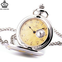 ORKINA Brand Fashion Stylish Posh Men Women Pocket Watches Unique Design Yellow Pattern Lid Textured Dial