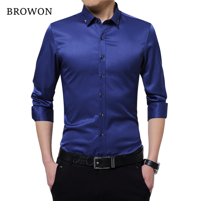 b7d994c4c80 Browon Brand Silky Formal Shirt Men Classic Business Long Sleeve Solid  Color Embroidery Collar Slim Fit Shirt Brand-clothing