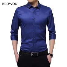 Browon Brand Silky Formal Shirt Men Classic Business Long Sl