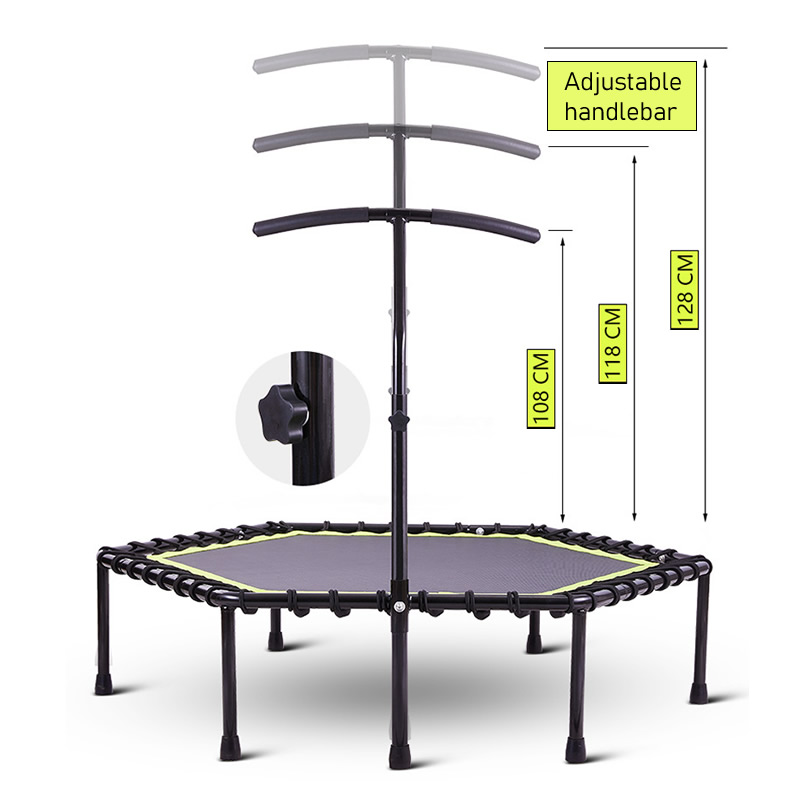 48 Inch Hexagonal Muted Fitness Trampoline with Adjustable Handrail for Indoor GYM Jump Sports Adults Kids Safety 5