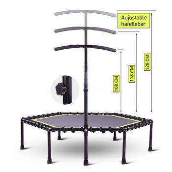 48 Inch Hexagonal Muted Fitness Trampoline with Adjustable Handrail for Indoor GYM Jump Sports Adults Kids Safety 10