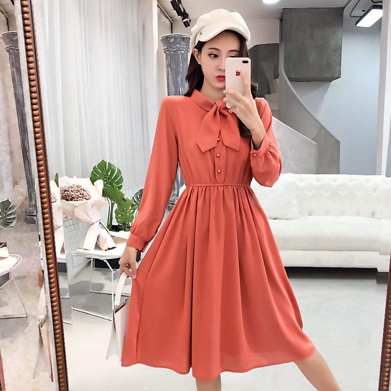 fashion bow collar women dresses party night club dress 2019 new spring long sleeve solid chiffon dress women clothing B101 2