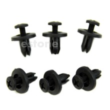 10Pcs New Car Bumper Fender 6mm Hole Black Plastic Rivets Fasteners for Toyota