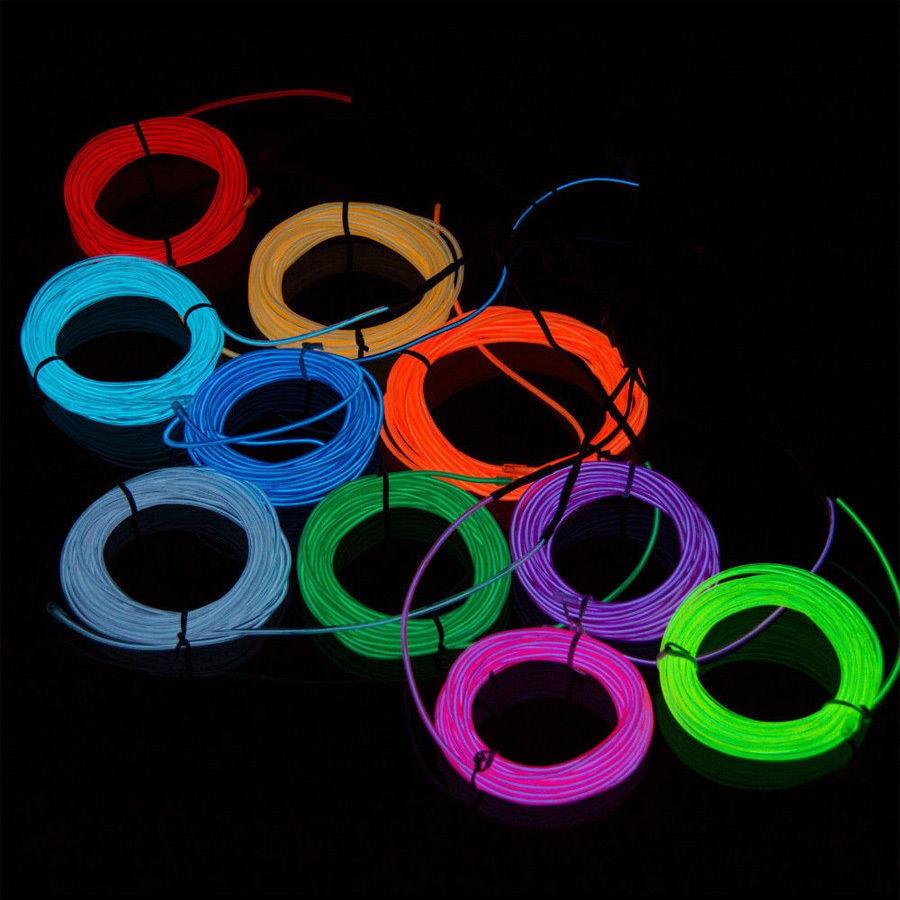 1M 12V LED Flexible Neon Light Glow EL Wire Rope Tube Car/Room ...