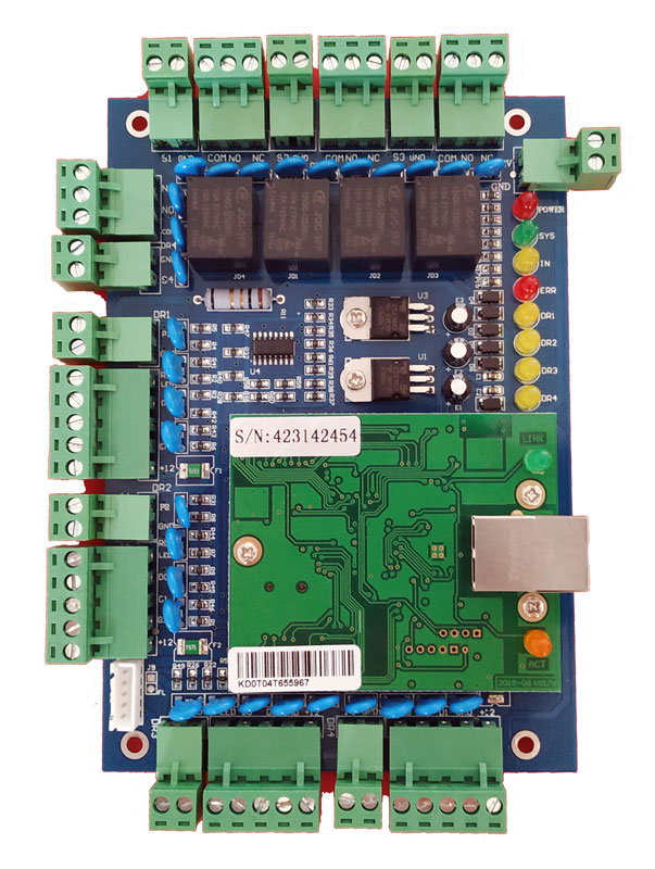 Image 2 - TCP/IP four Door access Control,Network access control board for access  system / time attendance support RFID QR reader sn:L04-in Access Control Kits from Security & Protection