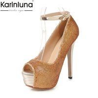KarinLuna Plus Size 43 Sexy Thin High Heels 2019 Brand New Platform women's Shoes Classics Sexy Party women' S Pumps