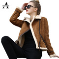 2016 Winter Lamb Wool Coat Faux Leather Jacket Thicken Long Sleeve Furry Motorcycle Fur Suede Jackets JS3082