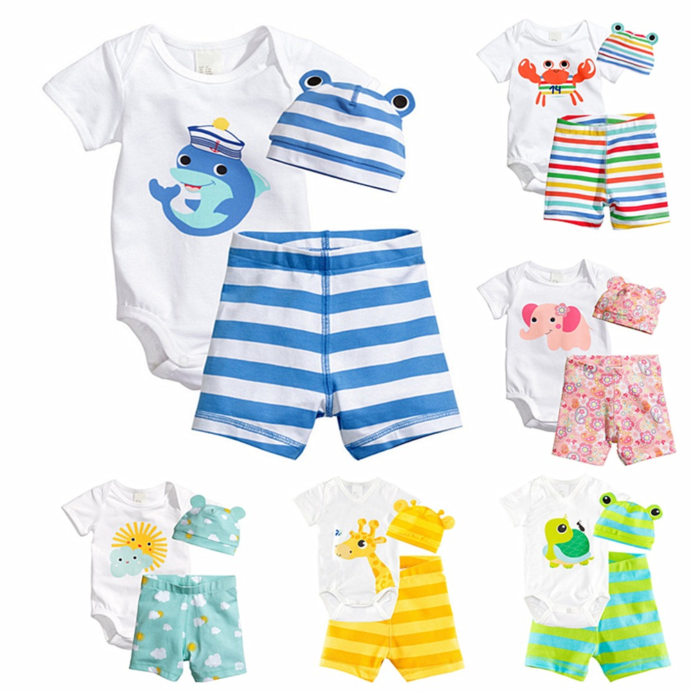 3Pcs Cotton Baby Boy Clothes Summer Baby Girl Clothing Set Newborn Baby Clothes Short Sleeve Roupas Bebe Animal Infant Jumpsuits