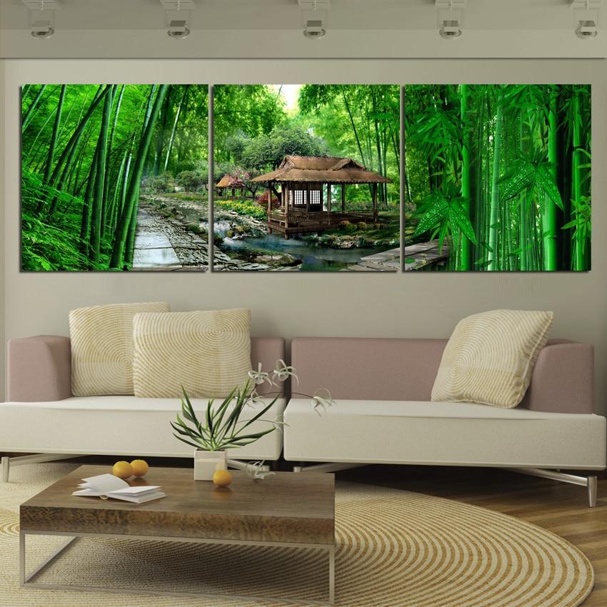 3 Piece Modern Paintings Green Bamboo Landscape Oil ... on Modern Feng Shui Garden  id=46784