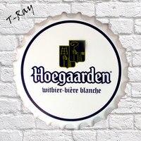 35cm TIN SIGN Hoegaarden Beer Decor Wall Art Bar Pub Round Beer Bottle Shape Tin Sign