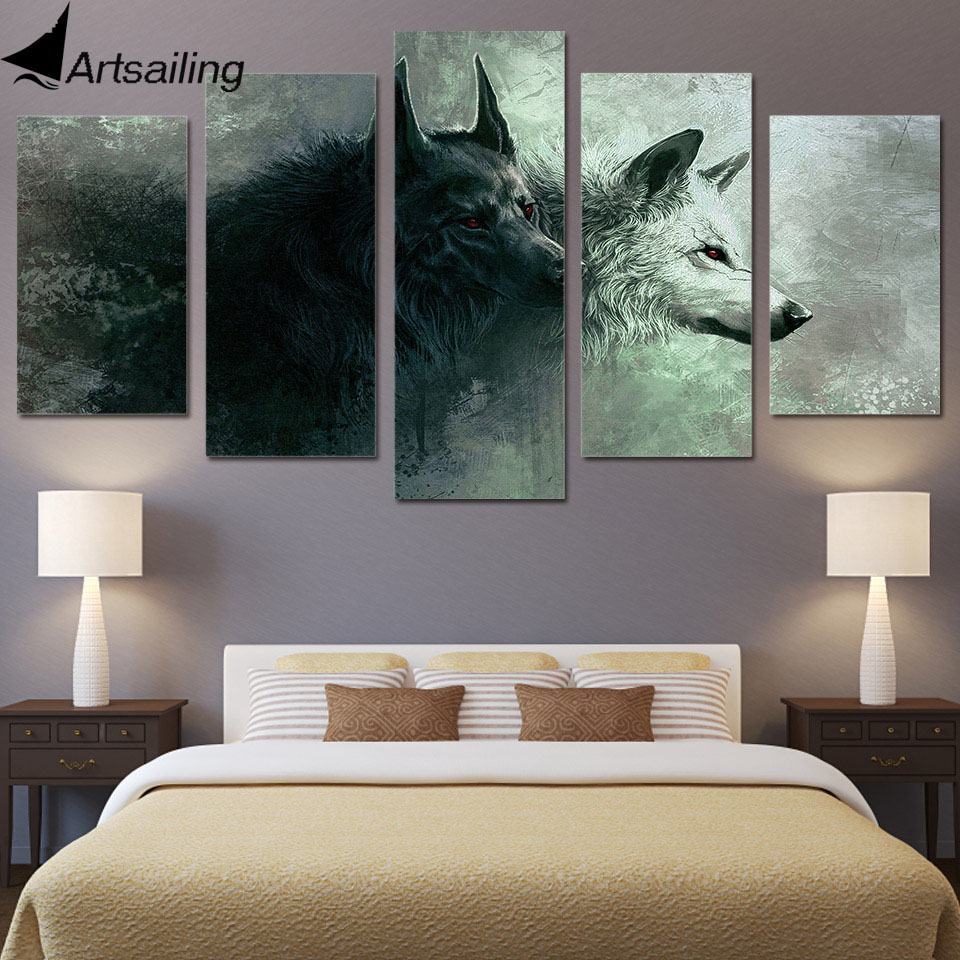 Hd 5 Piece Printed Animal Wolf Art Canvas Modular Paintings Bedroom Wall Home Decoration For Living Room Up 467 In Painting Calligraphy From