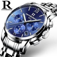 ONTHEEDGE Mens Watches Top Brand Luxury Business Quartz Watch Men All Steel Blue Face Waterproof Chronograph Relogio Masculino