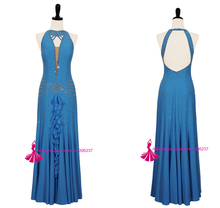 Dance Dress Ballroom Turquoise Blue Sexy Tango Flamenco Waltz Dance Costume Spandex Quality Ballroom Competition Dresses Woman