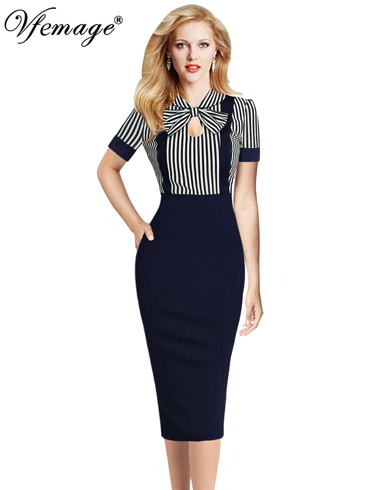140f77fad04 Vfemage Women Vintage Keyhole Bow Tie Faux Twinset Contrast Straps Striped  Pocket Wear to Work Office