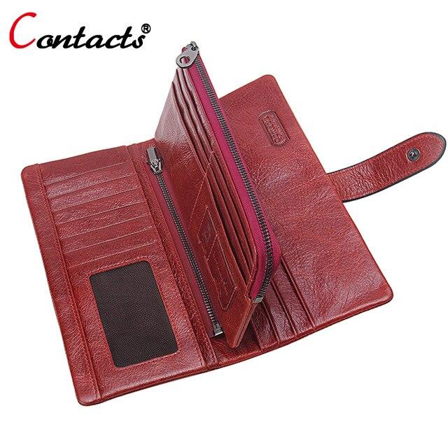 CONTACT'S Lederen Portefeuilles Dames Lange Portemonnees Designer Hoge kwaliteit Dames Kaarthouder Dames Portemonnees Dames Portefeuilles
