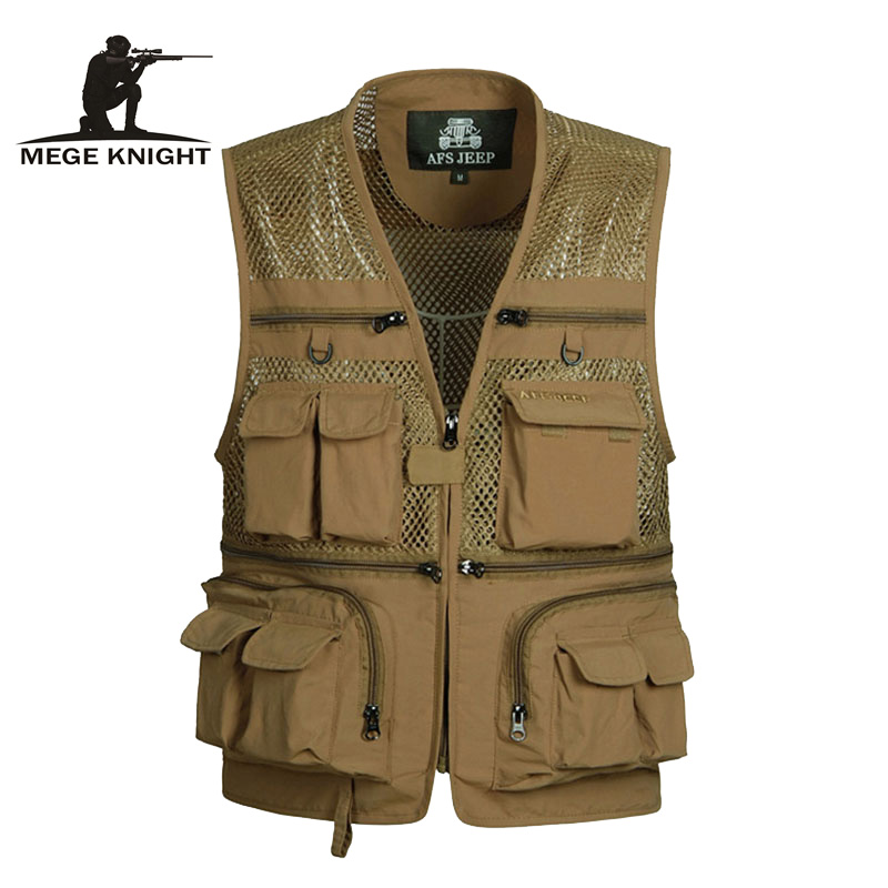 Summer Men Vests Male Mesh Breathable Camouflage Vest Reporter Multi Pockets Printed Casual Waistcoats