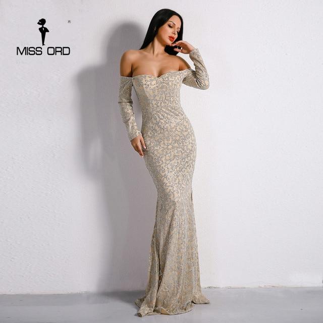 Missord 2017 Sexy New Bra Off Shoulder Backless Retro Dresses Glitter Maxi Party Elegant Dress FT8688-1