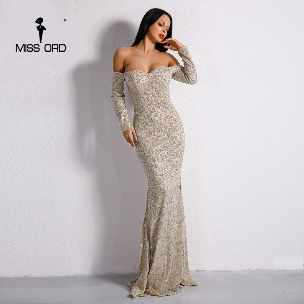 Missord 2019 Sexy nouveau soutien-gorge épaule dénudée dos nu rétro robes paillettes Maxi fête élégante robe FT8688-1