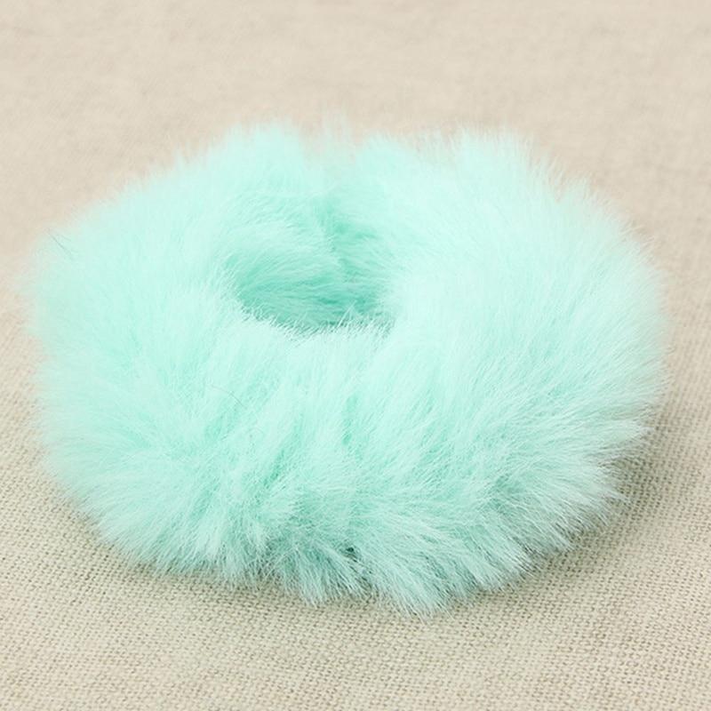 Модная эластичная резинка из искусственного кроличьего меха для девочек, резинка для волос, держатель для хвоста, эластичная плюшевая повязка для волос, кольцо, аксессуары для волос - Цвет: GR