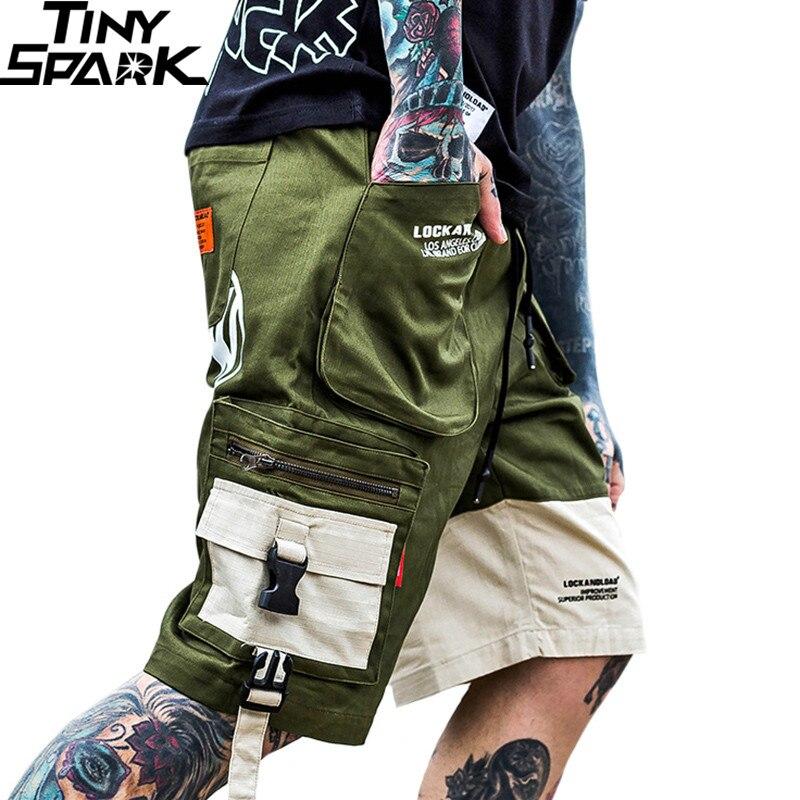 Summer Men Hip Hop Short Jogger Streetwear 2019 Harajuku Cargo Shorts Pocket Color Block Army Green Tatical Military Baggy Short