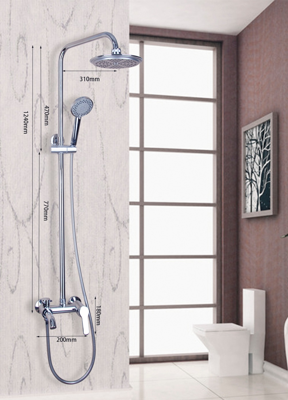 Polished Chrome Bathroom Faucet Wall Mounted Rain Shower Set Luxury ...
