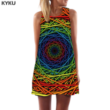KYKU Psychedelic Dress Women Colorful Party Dizziness Short Geometric 3d Print Black Hole Beach Womens Clothing Vintage New Wrap