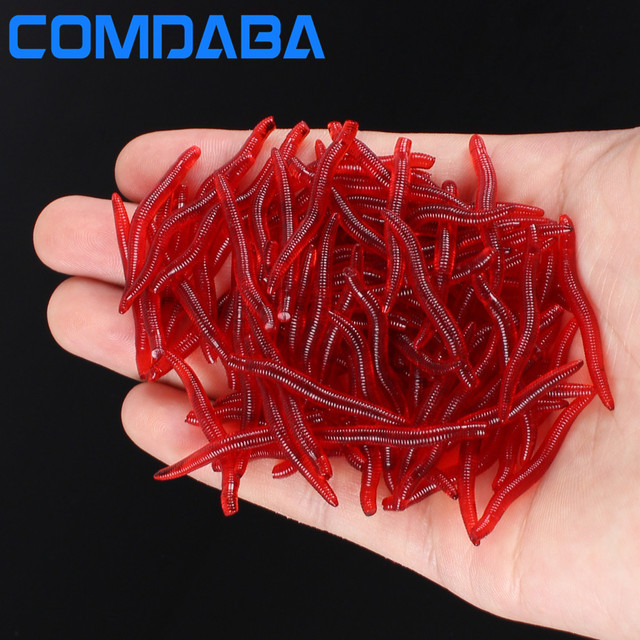 Comdaba 100pcs 4cm 0 25g Soft Lure Red Worms Earthworm Fishing Baits Trout Lures
